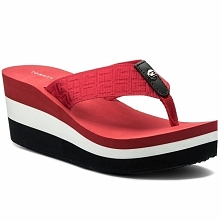 Japonki TOMMY HILFIGER - Jacquard Mid Beach Sandal FW0FW02383 Tango Red 611