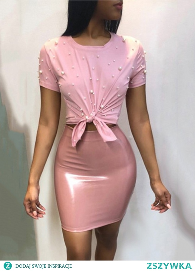 Solid Beading Knotted Tee & PU Skirt Sets Rozmiar: S, M, L, XL, 2XL Kolor: pink