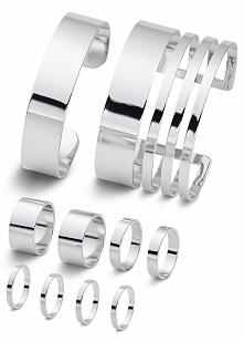 Komplet biżuterii (10 części) bonprix srebrny kolor