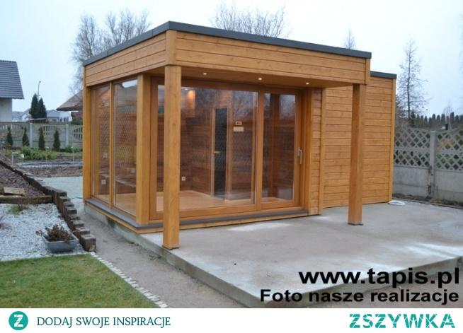 Domek ogrodowy z sauną fińską, prysznicem i częścią relaksacyjną. Producent: TAPIS.PL