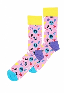 Różowe Skarpetki Peace And Love Happy Socks
