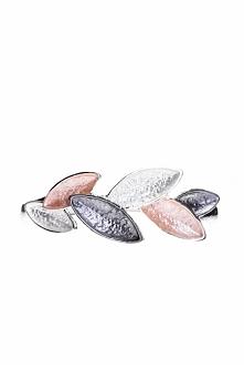 Różowo-czarna bransoletka z liścmi QUIOSQUE