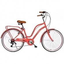 Rower Miejski Damski Florobella 26 Czerwony 7 Biegów HelloBikes