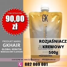Global Keratin GK Hair rozjaśniacz kremowy Juvexin 500g lightening cream cena...
