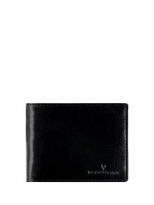 Skórzany portfel w kolorze czarnym - (S)12 x (W)9 cm