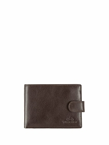 Skórzany portfel w kolorze brązowym - (S)13 x (W)9 cm