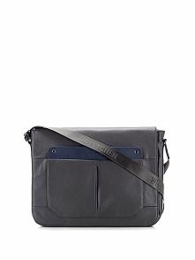 Skórzana torba w kolorze szarym na laptopa - (S)44 x (W)38 x (G)7,5 cm