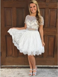 Stunning Bateau Two Piece White Beading Bodice Homecoming Dress with Lace Skirt