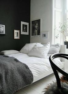 Czarno - biała sypialnia