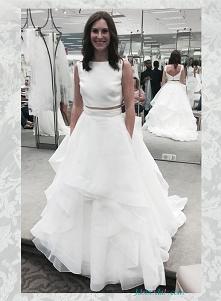 suknia śluH1652 morden dwie sztuki sukien ślubnych organza białybna