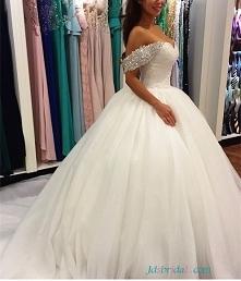 H1651 Fairytale świecący off ramię suknie ślubne księżniczka suknie balowe