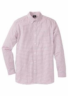 Koszula z długim rękawem Regular Fit bonprix czerwono-biały w paski