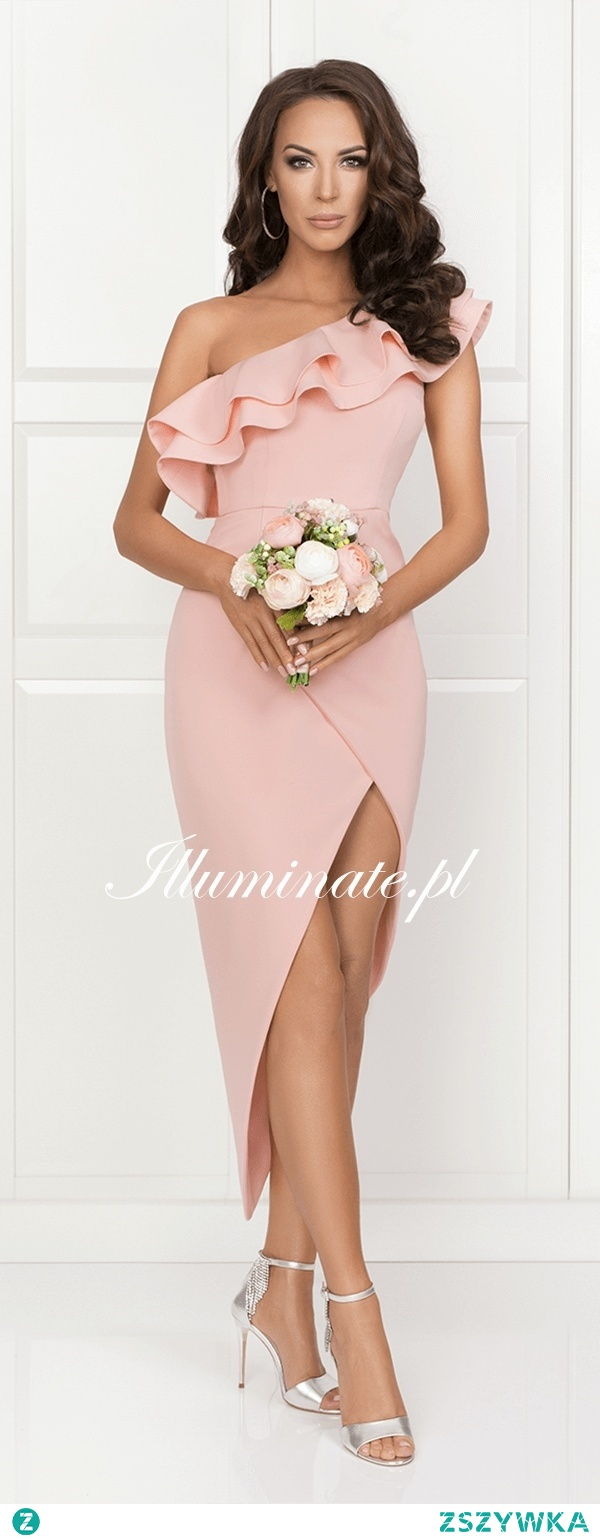 Asymetryczna sukienka z piękną falbaną <3 Idealna dla druhny <3 Tylko w sklepie Illuminate <3