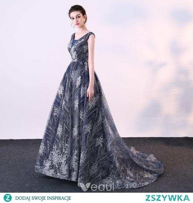 fd6a33ea Piękne Granatowe Sukienki Wieczorowe 2018 Suknia Balowa Cekinam.. na ...