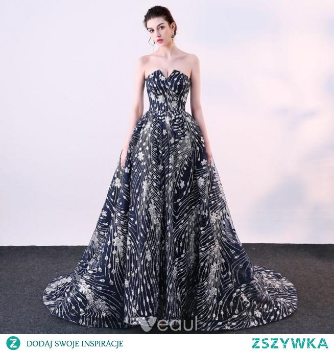 c98d42d42 Błyszczące Granatowe Sukienki Wizytowe 2018 Suknia Balowa Cekin.. na ...