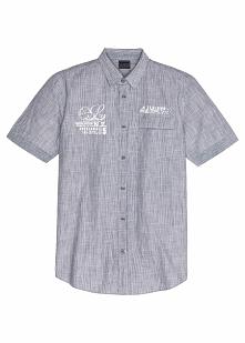 Koszula z krótkim rękawem Regular Fit bonprix czarny + w paski