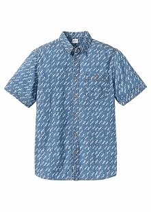 Koszula dżinsowa z nadrukiem Regular Fit bonprix niebieski