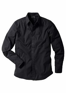 Koszula ze stretchem Slim Fit bonprix czarny