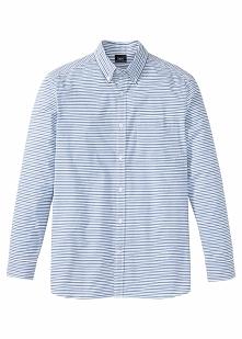 Koszula z długim rękawem Regular Fit bonprix niebiesko-biały w paski