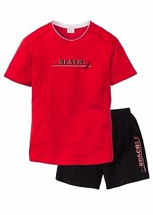 Piżama z krótkimi spodenkami bonprix czerwono-czarny