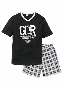 Piżama z krótkimi spodenkami bonprix czarno-biały