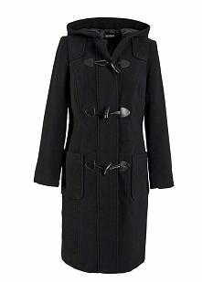 Płaszcz wełniany budrysówka bonprix czarny