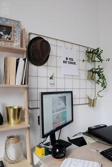 Domowe biuro w stylu BOHO. Nasze dekoracje: Organizer ZŁOTY Regał DRABINKA