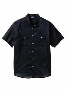 Koszula z krótkim rękawem Regular Fit bonprix czarny