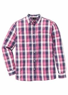 Koszula w kratę, z długim rękawem Regular Fit bonprix jeżynowy w kratę