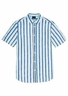 Koszula w paski z krótkim rękawem Regular Fit bonprix niebiesko-jasnozielono-...