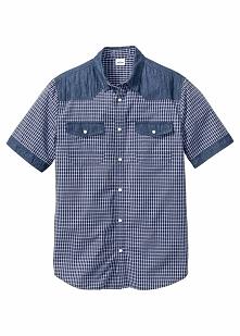 Koszula dżinsowa z krótkim rękawem Regular Fit bonprix niebieski