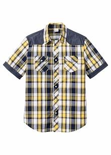 Koszula z krótkim rękawem Regular Fit bonprix żółty w kratę