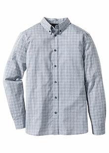 Koszula w delikatną kratę Regular Fit bonprix jasnoszary w kratę
