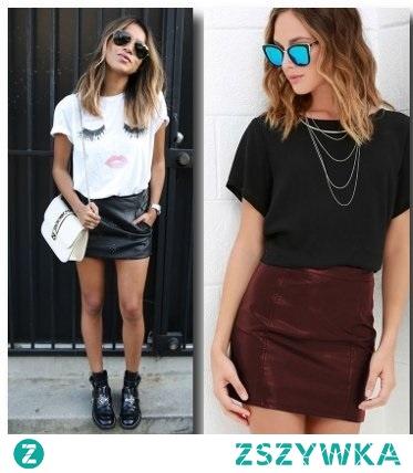 czarna skórzana spódnica i t-shirt