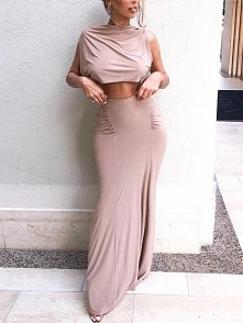Solid Crop Top & Slinky Scrunch Skirt Sets Rozmiar: S, M, L, XL Kolor: pink