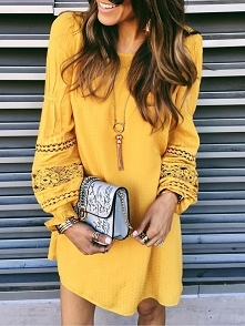 Ethnic Style Hollow Out Casual Dress Rozmiar: S, M, L, XL Kolor: yellow