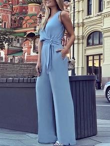 Buckle Tie waist Wide Leg Wrap Jumpsuit Rozmiar: S, M, L, XL Kolor: blue