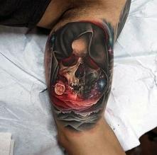 skull in space tattoo