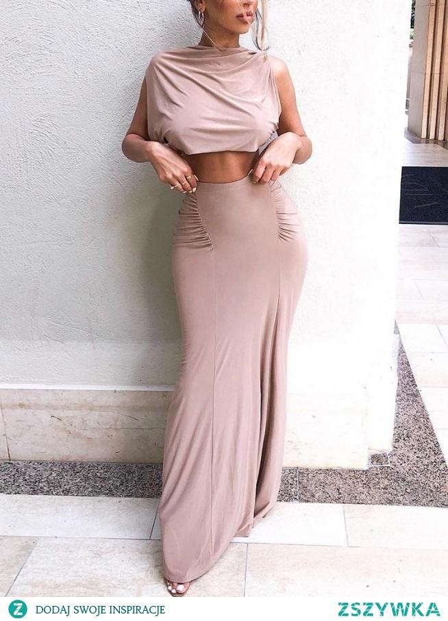 Solid Crop Top & Slinky Scrunch Skirt Sets Rozmiar: S, M, L, XL Kolor: pink