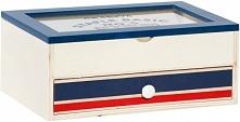 Timelife Drewniane Pudełko Z Szufladą, Niebieskie