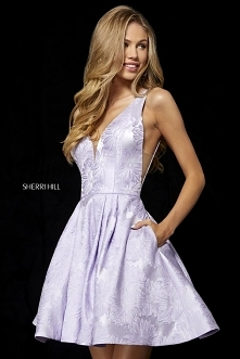 2018 Lilac Short A-Line Party Dresses Floral Brocade From Sherri Hill 52177