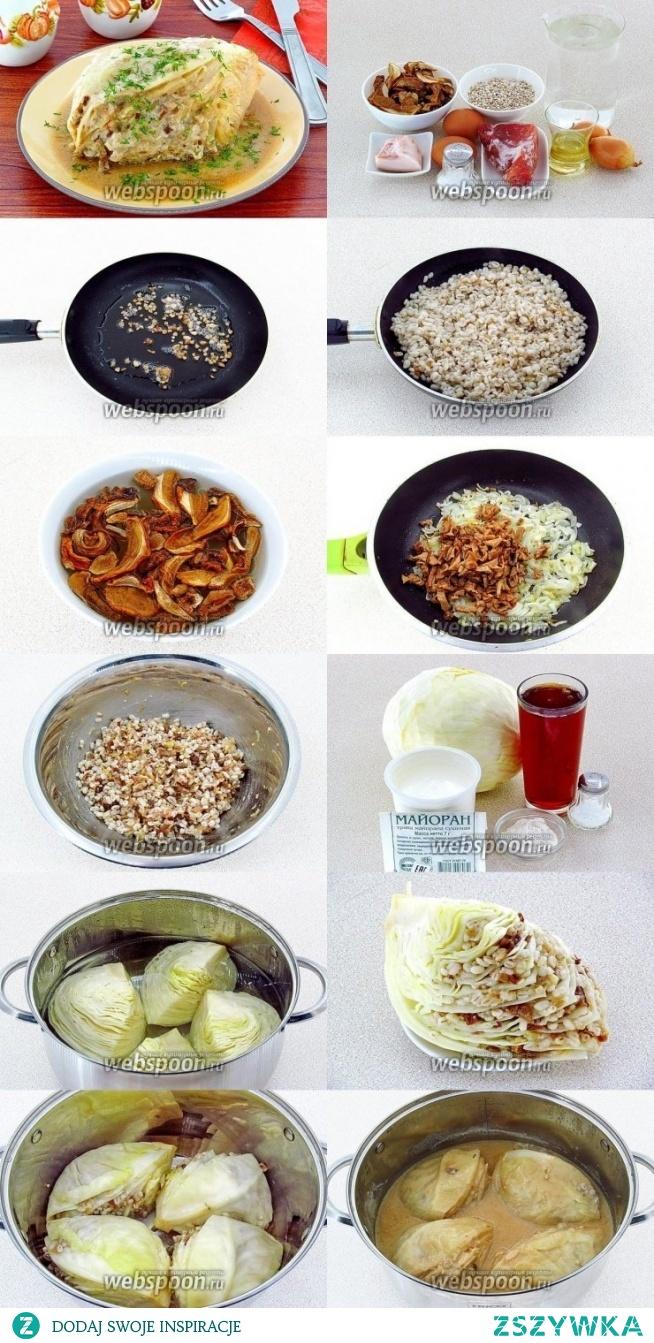 Gołąbki litewskie- Голубцы литовские  Farsz:   grzyby suszone 20 g  kasza jęczmienna 100 g  cebula 80 g  Olej słonecznikowy  2 łyżki.   boczek świeży 30 g tuszka wieprzowa 100g  jaja 2 szt wywar z grzybów 1500 ml kapusta biała 1000 g mąka pszenna 1 łyżka. śmietana 100 g sól, pieprz  Kaszę bezwzględnie przepłukać ciepłą wodą- do 40 C., a następnie gorącą wodą. Ta sekwencja nie jest przypadkowa: ciepła woda usuwa skrobię z powierzchni ziaren, a gorąca woda usuwa tłuszcz, który uwalnia się na powierzchni ziaren podczas przechowywania.  Kaszę włożyć do małego rondla, wlać wrzącą wodę (285 ml), przykryć i umieścić w dużym garnku z wrzącą wodą. Gotować w łaźni wodnej przez 1 godzinę. Kasza powinny być dobrze ugotowane, a płyn - całkowicie zaabsorbowany.  Boczek pokroić w kostkę i smażyć na patelni doskonałe skwarki. Teraz dodać kaszę na patelnię do skwarek, lekko podsmazyć i ostudzić.  Grzyby zalać wodą i pozostawić do puchnięcia przez 1 godzinę. Zagotuj grzyby w tej samej wodzie, w której zostały namoczone, aż będą miękkie, a następnie wywar z nich użyj do wytworzenia sosu, a grzyby drobno posiekaj.  Cebulę pokroić, smażyć w oleju, aż będzie miękka. Dodaj grzyby do cebuli. Wszystko razem smaż przez 7-10 minut na małym ogniu.  Wieprzowina pokroić w plasterki i zmielić, zmiksować na masę. Połącz kaszę z grzybami i mięsem mielonym, wyrobić ręcznie. Jajka lekko ubić i dodać do farszu. Doprawić.  Kapustę pokrój na 4-ry ćwiartki. Umieścić ćwiartki głowy w rondlu, zalać gorącą, osoloną wodą i gotować do połowy miękkości, a następnie wycisnąć.   Delikatnie rozsuwać liście z ćwiartek kapusty i wkładać między nie farsz. Przeplatać liście farszem. Faszerowane kawałki kapusty umieść  w rondlu.  Wysusz mąkę na patelni bez oleju, do jasnobeżowego odcienia. Połącz bulion grzybowy z kwaśną śmietaną. Rozcieńczyć mąkę mieszanką grzybowo- śmietanową tak aby nie było grudek, sól, pieprz do smaku, posypać majerankiem i doprowadź do wrzenia. Polej sosem nadziewaną kapustę i duś do miękkości k