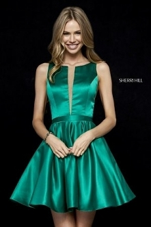 2018 Sherri Hill 52293 A-Line Short Satin Homecoming Gowns For Emerald [Sherr...