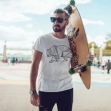 Niedźwiedź kreski męski tshirt koszulka biała