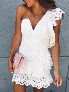 One Shoulder Hollow Out Ruffle Trim Mini Dress Rozmiar: S, M, L, XL Kolor: white