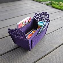 Koszyk ze skrzydłami - fioletowy - przybornik