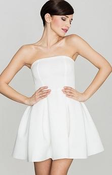 Lenitif K223 sukienka rozkloszowana ecru Efektowna sukienka koktajlowa w kolo...