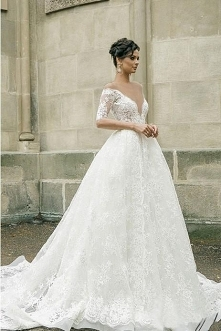 Half Sleeves Sheer Deep V-neck Lace Applique Ball Gown Illusion Back Wedding ...