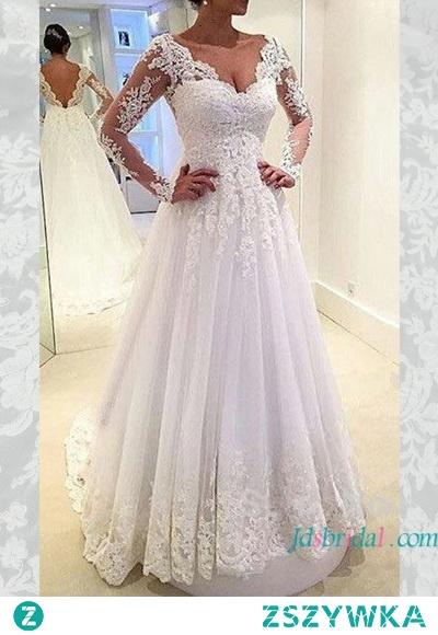 """Artykuł: H1626 Elegancka suknia ślubna w kształcie litery """"z otwartym tyłem"""" Cena >>> 428 USD Bezpłatna wysyłka na cały świat"""