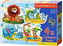 Puzzle x 4 - Animals of Africa (247013)